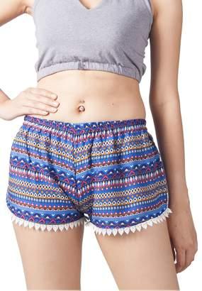 Lofbaz Women's Printed Lace Summer Shorts Burgundy M