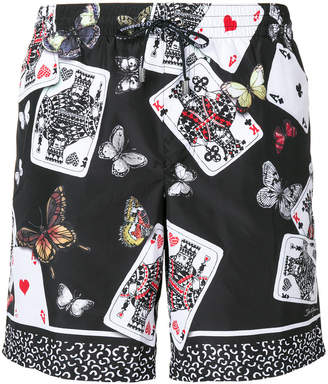 Dolce & Gabbana Playing Cards and butterfly print swim shorts