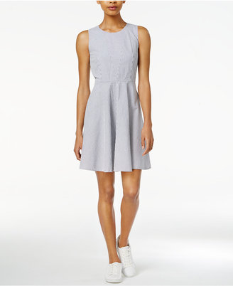 Armani Exchange Cotton Seersucker Fit & Flare Dress, Only at Macy's $130 thestylecure.com