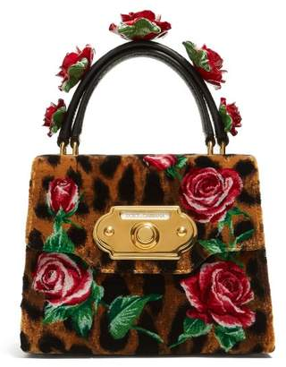 b3916083b3 Dolce   Gabbana Welcome Rose And Leopard Print Velvet Bag - Womens - Leopard
