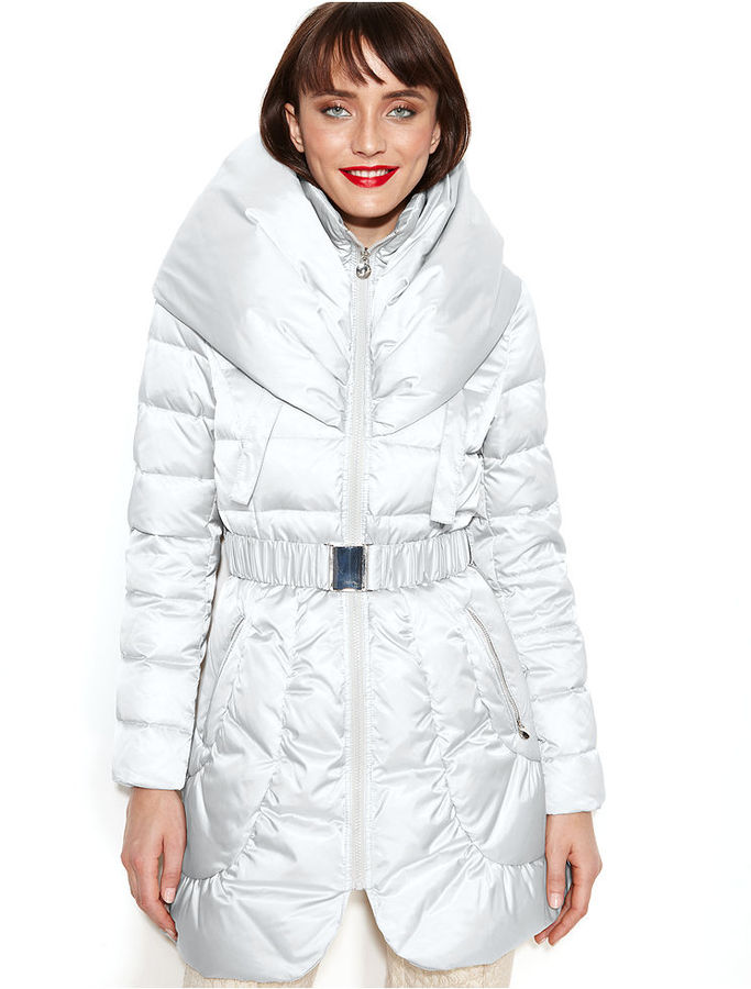 Laundry by Shelli Segal Pillow-Collar Hooded Puffer Coat