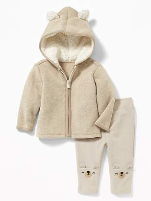 Old Navy 2-Piece Fleece Bear-Critter Hoodie and French-Terry Leggings Set for Baby
