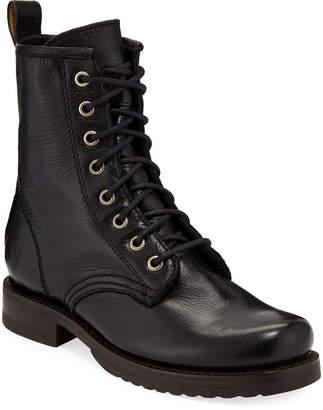 Frye Veronica Leather Combat Booties