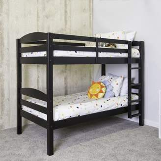 Walker Edison Twin Over Twin Solid Wood Bunk Bed, Black (Multiple Colors Available)