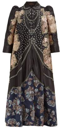 Biyan Ramadini Floral Applique Satin Coat - Womens - Black Blue