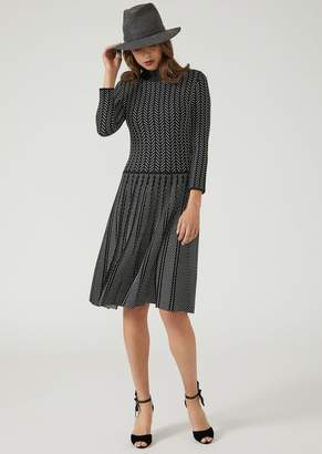 Emporio Armani Knitted Dress With Pleated Skirt In A Herringbone Jacquard Design
