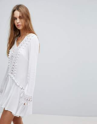 Surf Gypsy Crochet Trim Lace Up Beach Cover Up
