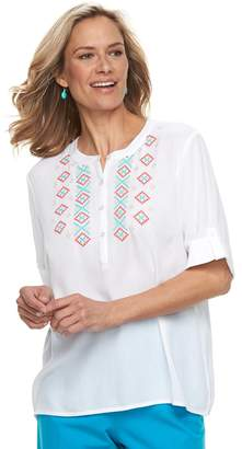 Women's Cathy Daniels Embroidered Henley Top