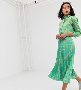 NA-KD Na Kd chain print print pleated skirts in green