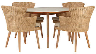 Croft Collection Iona 4 Seater Garden Dining Table and Chairs Set, FSC-Certified (Eucalyptus), Natural