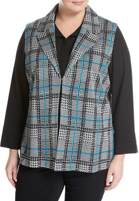 Ming Wang Plus Plaid Knit Vest, Black/White, Plus Size