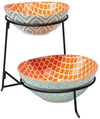 Certified International Green Ikat 2-Tier Server with Oval Bowls