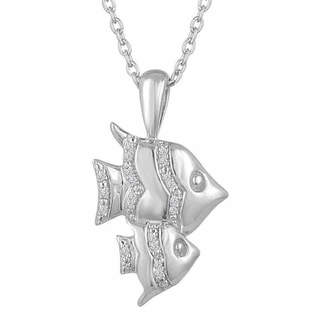 FINE JEWELRY Womens Diamond Accent Genuine White Diamond Sterling Silver Animal Pendant Necklace