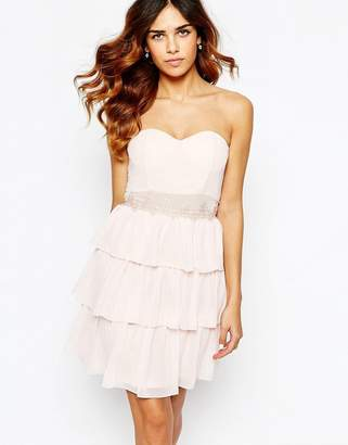 Elise Ryan Sweetheart Bandeau Frill Dress With Lace Trim