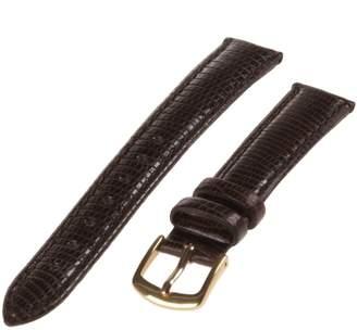 Republic Women's Lizard Grain Leather Watch Strap 14mm Long Length, Black