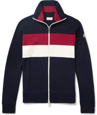 Moncler Striped Virgin Wool-Blend Zip-Up Cardigan - Navy
