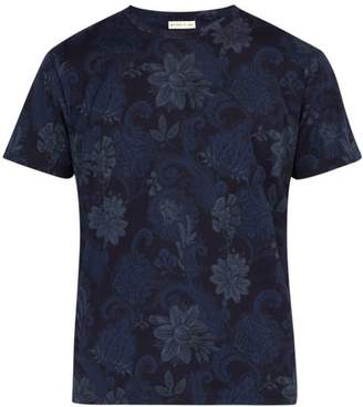 Etro Paisley Print Cotton T Shirt - Mens - Blue