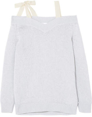 RED Valentino Cold-shoulder Bow-embellished Wool Sweater - Gray