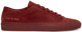 Common Projects Red Suede Original Achilles Low Sneakers
