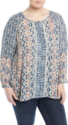 Nic+Zoe Surfside Split-Neck Ikat Blouse, Plus Size
