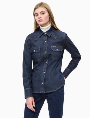 c3ba24165 Calvin Klein dark wash denim western shirt