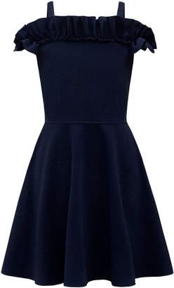 David Charles Knit Tonal Herringbone Ruffle-Trim Dress Size 8-16