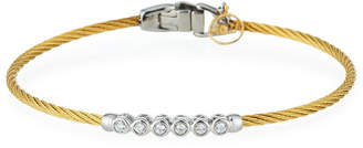 Alor Cable & 6-Diamond Bezel Bracelet, Golden