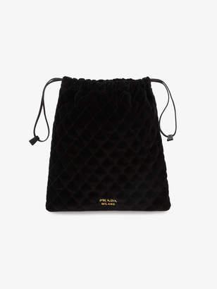 Prada Black quilted velvet pouch