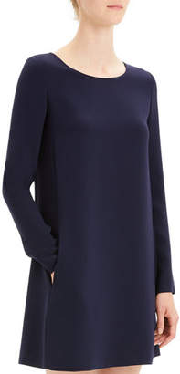 Theory Paneled Crepe Long-Sleeve Shift Dress