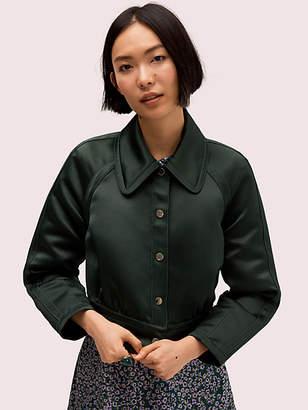 Kate Spade Satin Cropped Jacket, Deep Spruce - Size 0