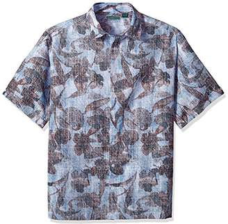 Cubavera Men's Big Short Sleeve Linen-Blend Tropical Floral Print Button-Down Shirt