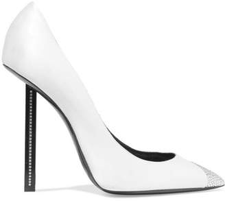Saint Laurent Swarovski Crystal-embellished Satin Pumps - Off-white