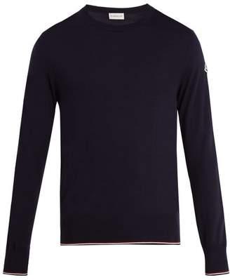 Moncler Crew Neck Wool Sweater - Mens - Navy