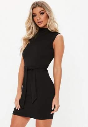 Missguided Black High Neck Tie Waist Mini Dress