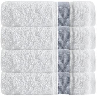 Enchante Set Of 4 Unique Anthracite Stripe Bath Towels