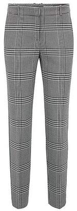 HUGO BOSS Tapered trousers in Glen-check fabric with striped taping