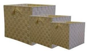 Set of 3 Nylon Storage Cube in Cream