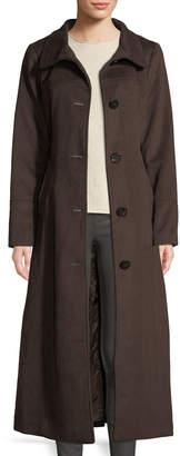 Ellen Tracy Fox Fur-Hooded Wool Maxi Coat