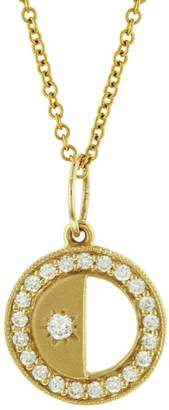 Andrea Fohrman First/Last Quarter Half Phases of the Moon Necklace - Yellow Gold