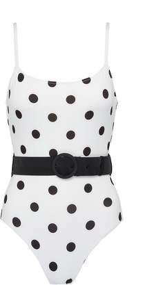 Solid & Striped 'The Nina' belted polka dot print one-piece swimsuit