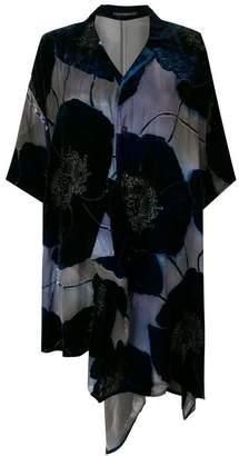 8780f2d27 Yohji Yamamoto floral appliqués asymmetric shirt dress
