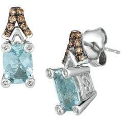 LeVian Le Vian Chocolatier Sea Blue Aquamarine, Vanilla Diamonds, Chocolate Diamonds & 14K Vanilla Gold Drop Earrings
