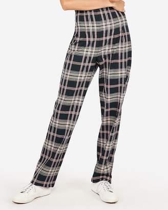 Express High Waisted Plaid Wide Leg Pant