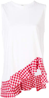Clu asymmetric gingham border blouse