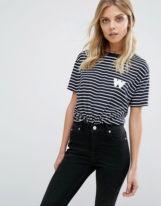Whistles Exclusive Stripe Tee with W Logo $68 thestylecure.com