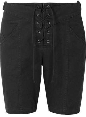 Saint Laurent Lace-up Cotton And Ramie-blend Twill Shorts - Black