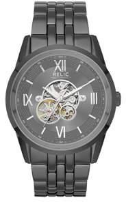 Fossil Relic by Men's Blaine Automatic Gunmetal Skeleton Watch