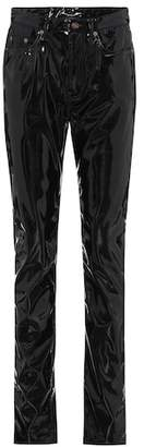 Saint Laurent High-waisted faux-leather trousers