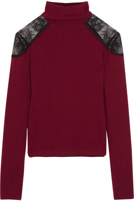 Alice + Olivia - Krystalle Lace-trimmed Stretch-knit Turtleneck Sweater - Claret $240 thestylecure.com