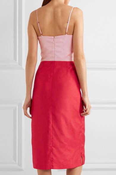 Staud - Enzo Two-tone Shantung Dress - Red 5